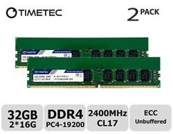 Timetec Hynix Ic 32GB Kit 2X16GB For Dell Poweredge T30 MINI Tower Server DDR4 2400MHZ PC4-19200 Unbuffered Ecc 1.2V CL17 2RX8 Dual Rank 288