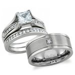 Bellux Style His And Hers Wedding Ring Sets Stainless Steel Princess Cut Wedding Engagement Rings Set And Matching Center-brushe