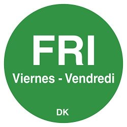 "DayMark IT1143925 ""fri"" Duramark Trilingual Permanent Label 3 4"" Circle Green 1000 Per Roll"