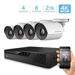 Amcrest 4K Security Camera System 8CH 8MP Hd-cvi Video Dvr With 4X 4K 8-MEGAPIXEL Indoor Outdoor Weatherproof IP67 Cameras 2TB H