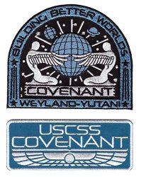 Titan One Set Of 2 - Covenant Tag Wings Weyland Corp Crew Uniform Alien Movie Cosplay Patch