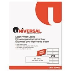 Office Realm Laser Printer Permanent Labels 1 X 4 White 5000 BOX By: Universal