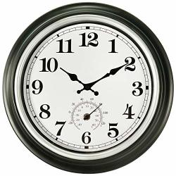 14 Inch Large Wall Clock Vintage Non-ticking Clock With Thermometer Battery Operated Clock Wall Decorative