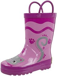 Rainbow Daze Kids Rain Boots Pretty Kitty Pink Cat Waterproof 100% Rubber Size 13 1