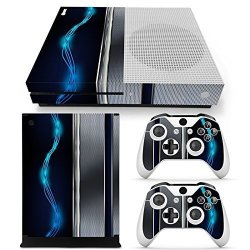 ZoomHit Xbox One S Console Skin Decal Sticker Blue Silver Metal + 2 Controller Skins Set S Only