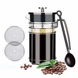 Glotoch Stainless Steel French Press Coffee & Tea Maker 8 Cup 34 Oz Glass French Press Coffee & Tea Pot For Coffee tea Camping office Bronze-wire Flat Roof