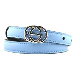 093c65e39 Gucci Skinny Blue Leather Belt With Interlocking G Buckle 370552 Size 34
