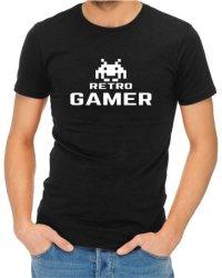 Retro Gamer Mens Black T-Shirt Medium