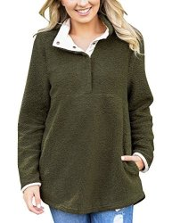 Women's Grapent Casual Long Sleeves Stand Collar Buttons Pockets Fleece Pullover Army Green Size XXL Fit Us 20 - Us 22