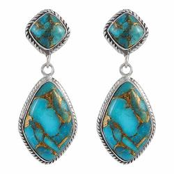 Turquoise Earrings 925 Sterling Silver & Genuine Turquoise Teal matrix Turquoise