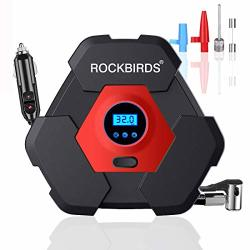 RockBirds Portable Air Compressor For Car Tires 12V Dc Auto Tire Pump With LED Light 150PSI For Car Tires Basketball Bicycle Mot