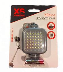 XS Commerce Xshine Compact LED Light Xshine Compact Rechargeable LED Camera Light With Hotshoe Mount Silver XSHN3E008
