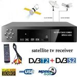 Ronshin Tvcombos Smart Digital Satellite Tv Receiver DVB-T2+DVB-S2 Fta 1080P Decoder Tuner MPEG4