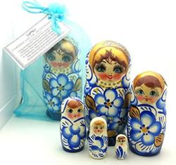 USA Buyrussiangifts Authentic Russian Nesting Doll Hand Painted 5 Piece Wooden Doll Set In A Gift Bag 5 Inch Tall Blue Gold