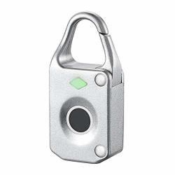 Fingerprint Padlock - Electronic MINI Anti Theft Luggage Padlock Waterproof Fingerprint Lock Keyless Biometric Intelligent - Luggage Smart Electron Bike Joyzy Backup Honeymomy Lock Skateboard