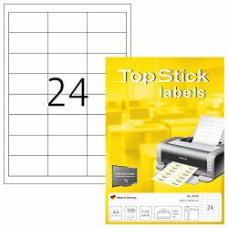 Topstick 8736 Self Adhesive Multipurpose Address Labels 64.6 X 33.8 Mm 24 Labels Per A4 Sheet 2400 Labels 100 Sheets White