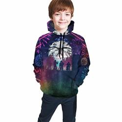 Tougouqus Stranger The Things Fashionable Teenagers Boys And Girls Teen Hooded Sweate S 7-8 Black