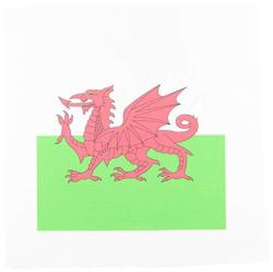 3DROSE LLC 3DROSE APR_158289_2 Flag Of Wales Welsh Red Dragon On White & Green Y Ddraig Goch UK United Kingdom Great Britain Med