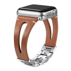 Secbolt Leather Bands For Apple Watch Band 42MM Brown Handmade Vintage Fashion Leather Strap W adjustable Stainless Steel Clasp For Apple Watch Series 3 Series 2 Series 1
