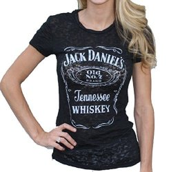 Jack Daniels Women's Daniel's Burnout Short Sleeve Tee Black Large