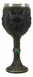 Ebros Wicca Mystical Witching Hour Black Cat Wine Goblet 7OZ Feline Cats Celtic Wine Knotwork Beverage Chalice Goblet Cup With Green Gems
