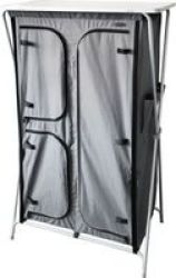 Leisure-quip Foldaway 4 Shelf Cupboard With Hanging Space - Grey