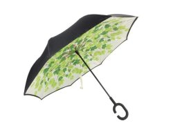 Reversible Umbrella With Design - Green Leaves