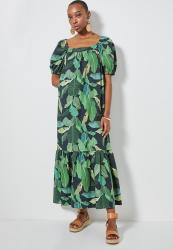 Superbalist Square Neck Tiered Dress - Line Work Palm Leaf
