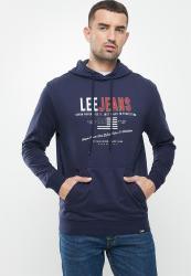 Lee Faded Denim Hooded Sweat - Navy