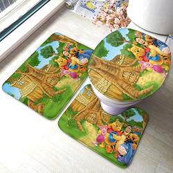 Winnie The Pooh Bath Mat 3 Piece Set Bathroom Carpet Set Soft Anti-skid Pads Bath Mat + Contour Pads + Toilet Lid Cover Absorbent
