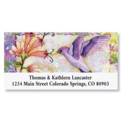 "Sweet Beauty Hummingbird Animal Return Address Labels - Set Of 144 1-1 8"" X 2-1 4"" Self-adhesive Flat-sheet Floral Labels"