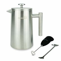 French Press Coffee Maker 34 Oz. Elegant Vintage Design Double-wall Vacuum Insulated Smooth-pouring Spout Enjoy Single Cup Or Full Pot Silver - By Plakar