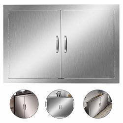 """KITCHEN Outdoor Door Heavy Duty Bbq Access Door 30.5""""W X 21""""H Flush Mount Stainless Steel Double Bbq Island Door For Outdoor Bbq Island"""