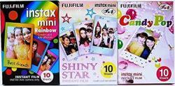 Fujifilm Instax MINI Instant Film Rainbow & Shiny Star & Candy Pop Film -10 Sheets X 3 Assort