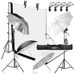 EMart 400W 5500K Daylight Umbrella Continuous Lighting Kit 8.5X10FT Background Support System With 2 Muslin Backdrops Black And