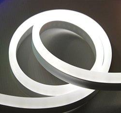 ShunYinWanDa Vasten 30 Ft White LED Neon Rope Light 12V Flex LED Neon Strip  Light Waterproof Resistant Accessories Included - Ideal For Christmas