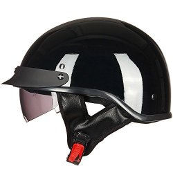 ILM Motorcycle Half Helmet With Integrated Sun Visor Quick Release Buckle Dot Approved XL Gloss Black