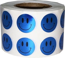 InStockLabels.com Smiley Face Stickers Metallic Blue Happy Face Labels For Teachers 1 2 Inch Round Circle Dots 1 000 Adhesive Stickers