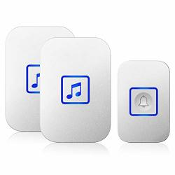 Wireless Doorbell Door Bell Chime Kit With 60 Melodies 4 Levels Of Volumes And LED Flash Easy Setup For Home And Office 2 Receivers + 1 Button White