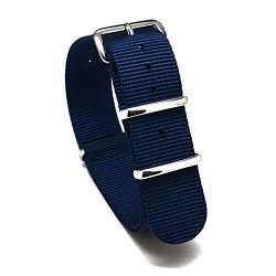 Nato Skull 20MM Nato Watch Band Strap With Stainless Steel Buckles In Navy Blue