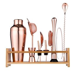 Tangkula Stainless Cocktail Shaker Mixer Drink Martini Tools Bar Set with Wood Stand