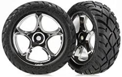 "USA Traxxas 2479R Anaconda Tires Pre-glued On 2.2"" Chrome Tracer Wheels Pair"