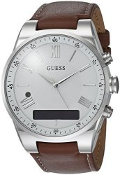 Guess Men&apos S Connect Smartwatch With Amazon Alexa And Genuine Leather Strap Buckle - Ios And Android