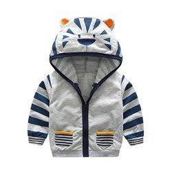 Sunbona Toddler Baby Boys Cute Cartoon Animal Hooded Zipper Jacket Coat Tops Clothes 5T 3 4YEARS Gray