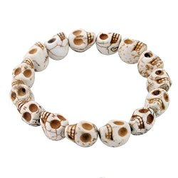 Rivertree Jewellery White Howlite Skull Beads Bracelet For Men And Women By Rivertree - Elastic 17 - 20CM 7.5 Inches