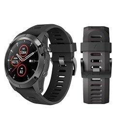 Insaneness Soft Silicone Replacement Sport Wirst Watchband Strap For Garmin Fenix 5X Plus Black