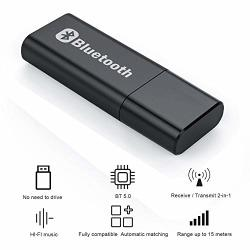 Bluetooth 5.0 Transmitter And Receiver - 2-IN-1 Wireless 3.5MM Aux Jack USB Music Player Audio Adapter For Tv pc Home car Stereo
