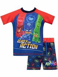 Pj Masks Boys' Catboy Owlette Gecko Two Piece Swim Set Size 6 Blue