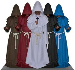 Kayiman Halloween Cosplay Medieval Monk Costume Robe Witch Costume Pastor Clothing Christ Black Multi-size Clothing