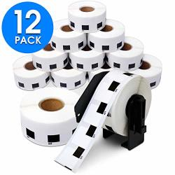 Aegis Adhesives - Compatible DK-1221 Square 0.9 Inch Replacement Labels Compatible With Brother Ql Label Printers - 12 Rolls + 1 Frame